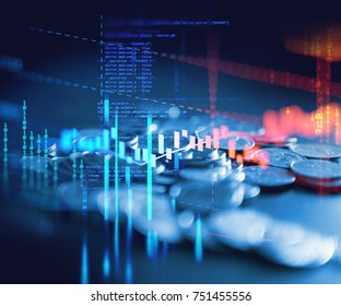 double exposure image of coin stacks on technology financial graph background.