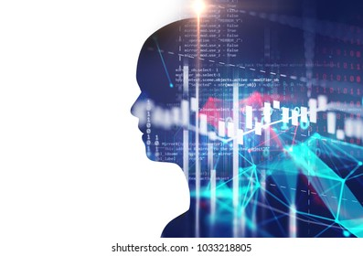 double exposure image of financial graph and virtual human 3dillustration  on business technology  background represent algorithmic trading process.