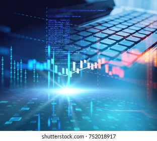 double exposure image of laptop keyboard on technology financial graph background.