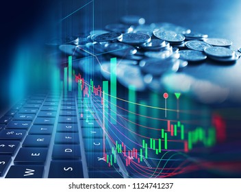 double exposure image of stock market investment graph and coins stack,concept of business investment and stock future trading.