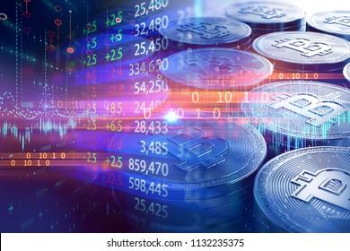 image à double exposition du graphique d'investissement en bourse sur les piles de Bitcoins,concept d'entreprise investissement et devise de chiffrement.illustration 3d