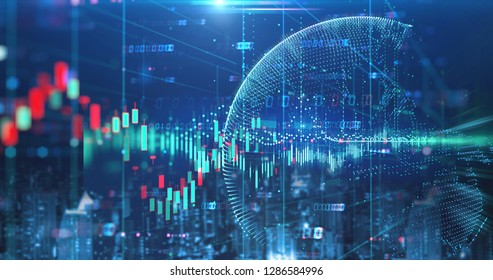 double exposure image of stock market investment graph and city skyline scene,concept of business investment and stock future trading.3d illustration
