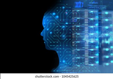 double exposure image of virtual human 3dillustration on blue circuit board background represent artificial intelligence AI technology
