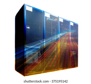 double exposure mainframe with road traffic