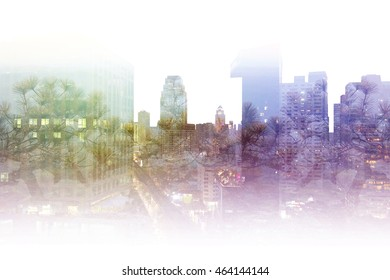 Double exposure photography capital city view and forest landscape, blue, green, purple pine tree on high building composite picture background, natural scenery backdrop