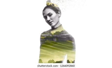 Double exposure portrait of young girl