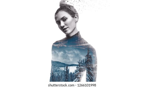 Double exposure portrait of young woman