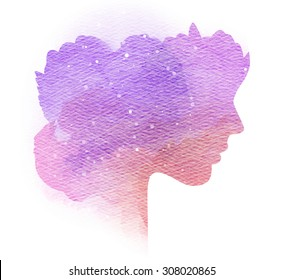 Double exposure silhouette of woman with splashed water color on paper.