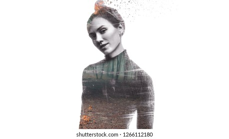 Double exposure of young woman face