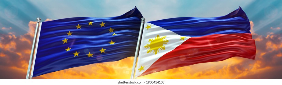 Double Flag European Union and Philippines flag waving flag with texture background- 3D illustration - 3D render