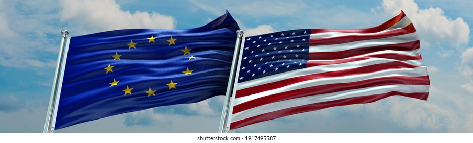 Double Flag European Union and United States of America flag waving flag with texture background- 3D illustration - 3D render