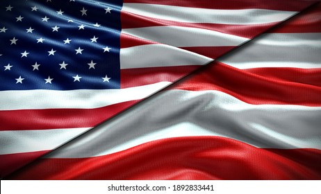 Double Flag United States of America and Puerto Rico waving flag  with texture background - 3D illustration - 3D render