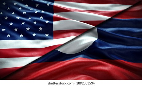 Double Flag United States of America and Laos waving flag  with texture background - 3D illustration - 3D render