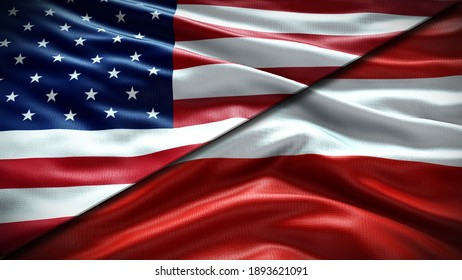 Double Flag United States of America and Austria waving flag  with texture background - 3D illustration - 3D render