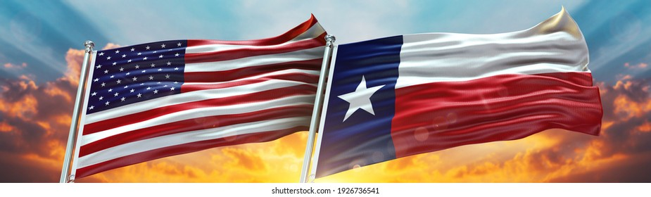 Double Flag United States of America and Texas flag USA State flag waving flag with texture background- 3D illustration - 3D render