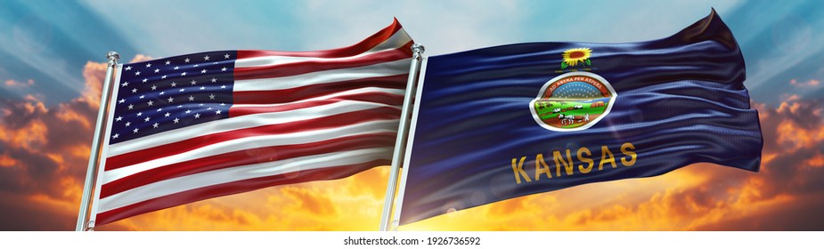 Double Flag United States of America and Kansas flag USA State flag waving flag with texture background- 3D illustration - 3D render