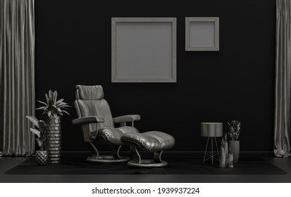 Double Frames Gallery Wall in black and metallic silver color monochrome flat room with furnitures and plants, 3d Rendering, poster mockup room