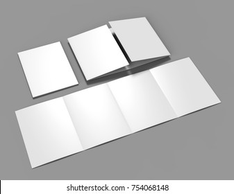 Double gate fold brochure blank white template for mock up and presentation design. 3d illustration.