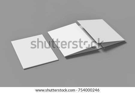 double gate fold brochure blank whiteのイラスト素材 754000246