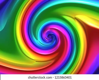 Double Golden Fibonacci Logarithmic Spiral Dynamics - Iridescent Abstract Texture - Brilliant Metallic Background