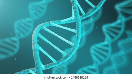 Double helical structure of DNA, DNA molecule, RNA. The concept of biochemistry, biotechnology. Genome change, 3D illustration