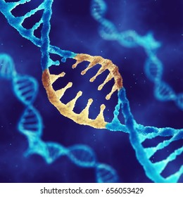 Double helix DNA molecule with modified genes , Treating and preventing disease by gene therapy ,3d illustration