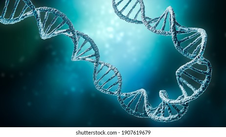 Double helix DNA strands on a blue background with copy space 3D rendering illustration. Genetics, science, genome, medicine, biology concepts.
