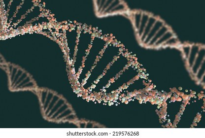 Double helix structure of the DNA in depth of view.