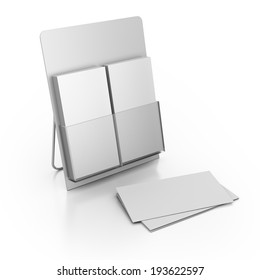 double holder with blank leaflets isolated on white background