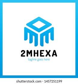 Double Letter M Hexagon Logo. Arrow Up Logotype Hexa