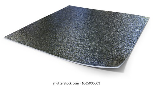 Double metalized thermal insulation with foam core isolated on white. 3D rendering