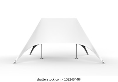 Double Peak White Top Sun Shade   Star Canopy Tent Pop Up Dome Spider Double Star Advertising White Blank Event Tent. 3d render illustration.