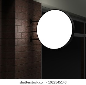 Double sided Back lit signage circular board, led glow advertising board, vinyl company sign on brick wall. 3d render illustration.