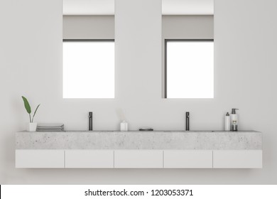 Double sink in modern bathroom interior with white walls. Vertical narrow mirrors and shampoos. 3d rendering