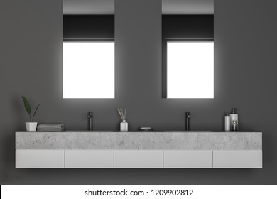 Double sink in modern bathroom interior with gray walls. Vertical narrow mirrors and shampoos. 3d rendering