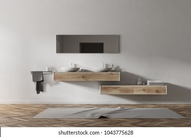 Double sink standing on a wooden shelf in a white wall bathroom with a wooden floor. 3d rendering mock up
