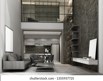 Double space living and dining area wiht wooden floor and marble pattern wall decorate, Mezzanine working area. interior 3d rendering