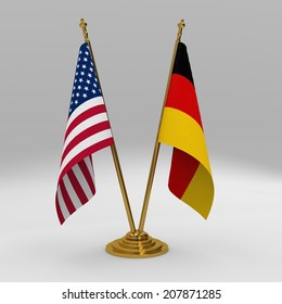 Double table flag, partnership united states of america and germany