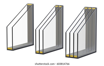 Double triple and quadruple windows  pane insulated glazing. 3D render, isolated on white background.