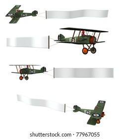 Double wing Airplane pulling a advertising banner. Isolated cutout on clean white background. Sky banner is ready for your text. Illustration with four different views of plane flying