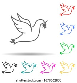 Dove with branch of peace multi color set icon. Simple thin line, outline illustration of human rights icons for ui and ux, website or mobile application