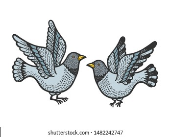 Dove pigeon birds tattoo color sketch engraving raster illustration. Scratch board style imitation. Hand drawn image.