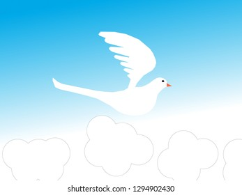 Dove.Flying pigeons and white clouds on blue background.Seamless isolated pattern.Animal illustration.