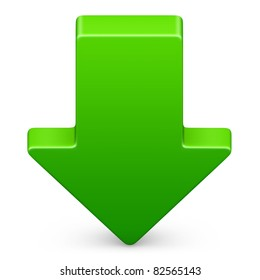 Down arrow icon in green on isolated white background. 3D render image and part of icon series.