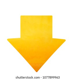 Down cute arrow  arrow, watercolor arrows yellow color direction downwards isolated on white background, download button arrow