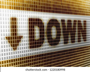"""""""Down"""" in the screen. 3D Illustration."""