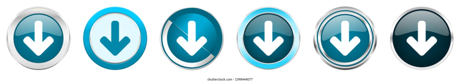 Download arrow silver metallic chrome border icons in 6 options, set of web blue round buttons isolated on white background