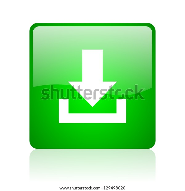 download green square web icon on white background