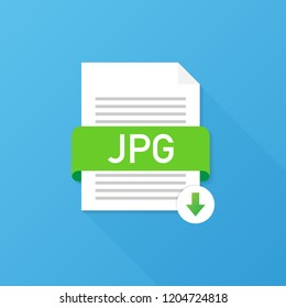 Download JPG button. Downloading document concept. File with JPG label and down arrow sign.  stock illustration.