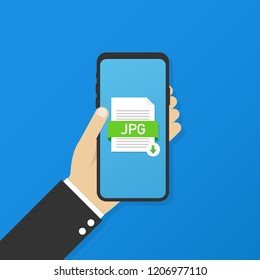 Download JPG button on smartphone screen. Downloading document concept. File with JPG label and down arrow sign.  stock illustration.